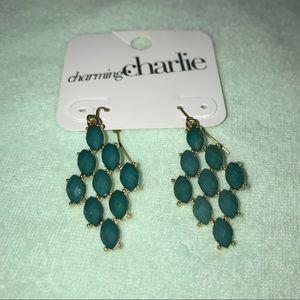 Gold and Dark Green Dangle Earrings